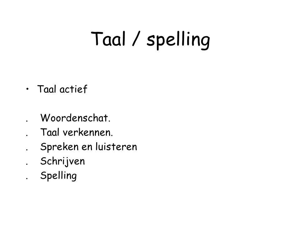 Taal / spelling Taal actief. Woordenschat.. Taal verkennen.. Spreken en luisteren. Schrijven. Spelling