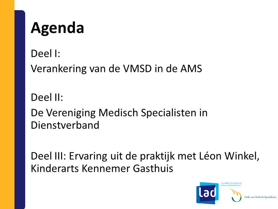 Agenda Deel I: Verankering van de VMSD in de AMS Deel II: De Vereniging Medisch Specialisten in Dienstverband Deel III: Ervaring uit de praktijk met L