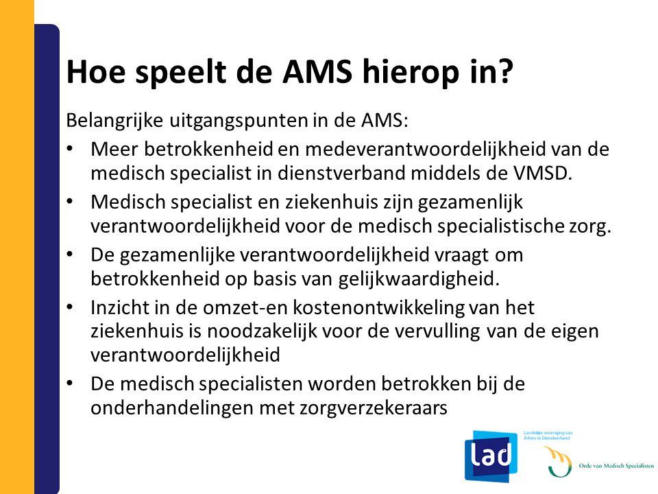 Hoe speelt de AMS hierop in? Belangrijke uitgangspunten in de AMS: Meer betrokkenheid en medeverantwoordelijkheid van de medisch specialist in dienstv