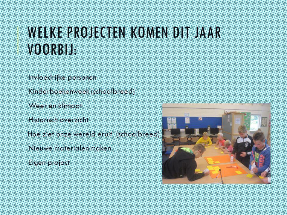 WELKE PROJECTEN KOMEN DIT JAAR VOORBIJ: Invloedrijke personen Kinderboekenweek (schoolbreed) Weer en klimaat Historisch overzicht Hoe ziet onze wereld eruit (schoolbreed) Nieuwe materialen maken Eigen project