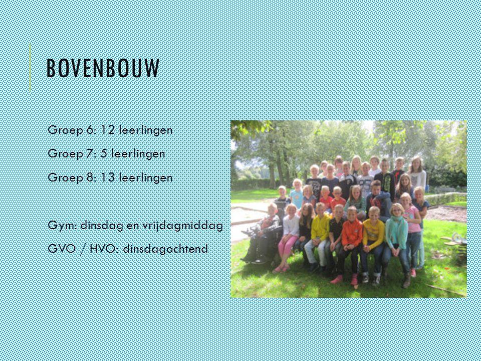 BOVENBOUW Groep 6: 12 leerlingen Groep 7: 5 leerlingen Groep 8: 13 leerlingen Gym: dinsdag en vrijdagmiddag GVO / HVO: dinsdagochtend