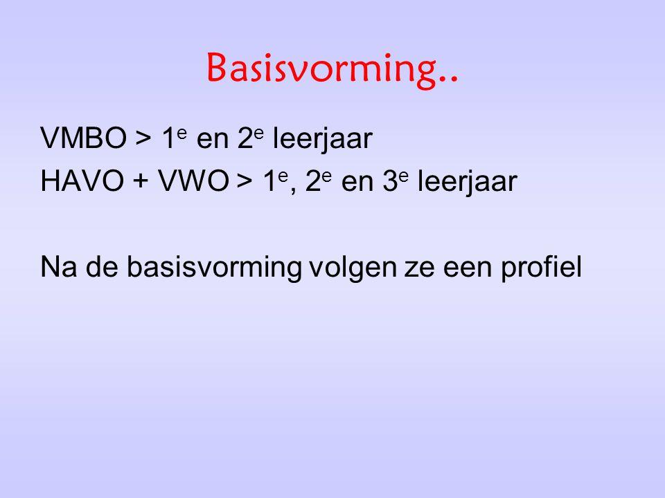 Basisvorming.. VMBO > 1 e en 2 e leerjaar HAVO + VWO > 1 e, 2 e en 3 e leerjaar Na de basisvorming volgen ze een profiel