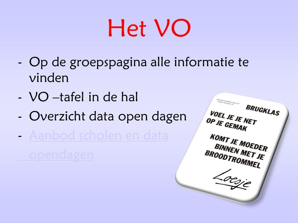 Het VO -Op de groepspagina alle informatie te vinden -VO –tafel in de hal -Overzicht data open dagen -Aanbod scholen en dataAanbod scholen en data ope