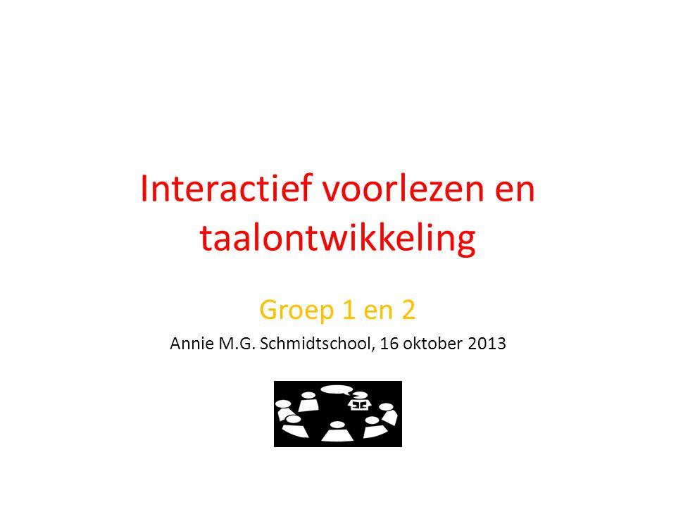 Interactief voorlezen en taalontwikkeling Groep 1 en 2 Annie M.G. Schmidtschool, 16 oktober 2013