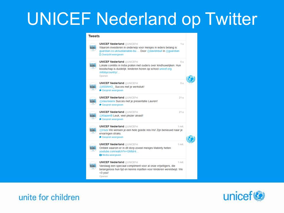 UNICEF Nederland op Twitter