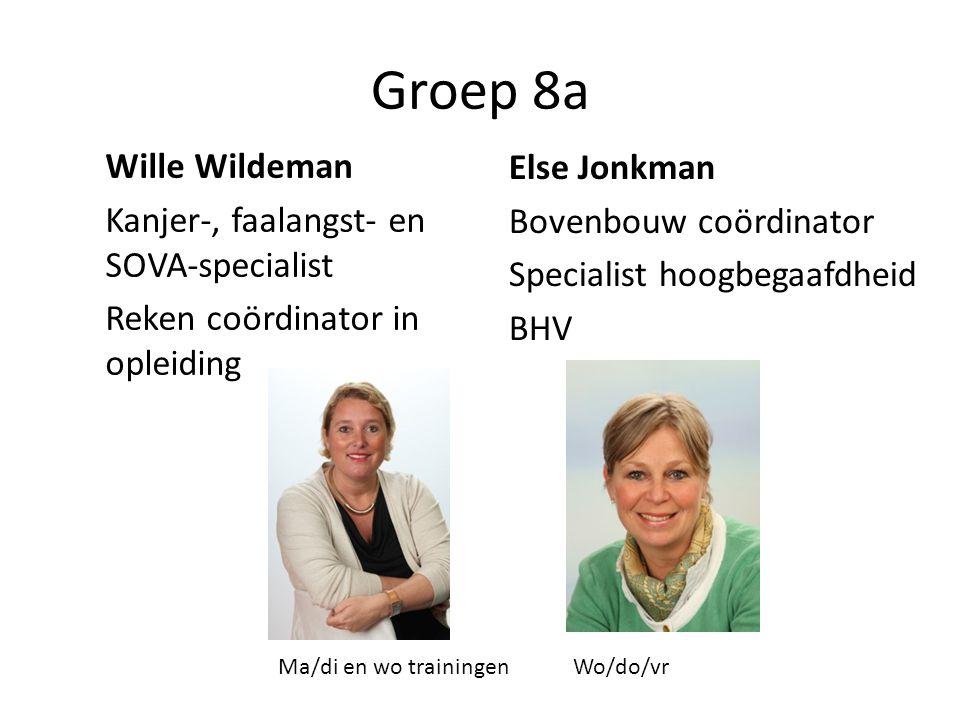 Groep 8a Wille Wildeman Kanjer-, faalangst- en SOVA-specialist Reken coördinator in opleiding Else Jonkman Bovenbouw coördinator Specialist hoogbegaafdheid BHV Ma/di en wo trainingenWo/do/vr