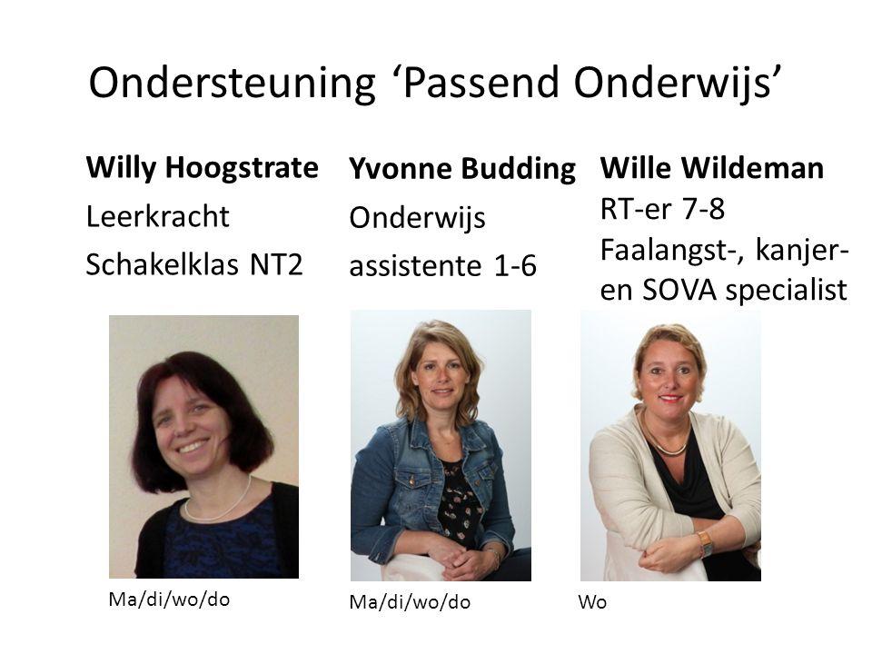 Ondersteuning 'Passend Onderwijs' Willy Hoogstrate Leerkracht Schakelklas NT2 Yvonne Budding Onderwijs assistente 1-6 Ma/di/wo/do Wo Wille Wildeman RT