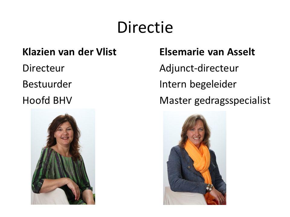 Directie Klazien van der Vlist Directeur Bestuurder Hoofd BHV Elsemarie van Asselt Adjunct-directeur Intern begeleider Master gedragsspecialist