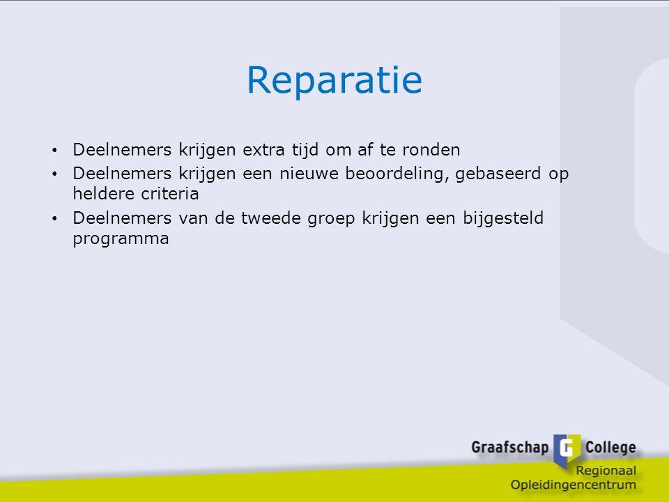 Reparatie Deelnemers krijgen extra tijd om af te ronden Deelnemers krijgen een nieuwe beoordeling, gebaseerd op heldere criteria Deelnemers van de twe