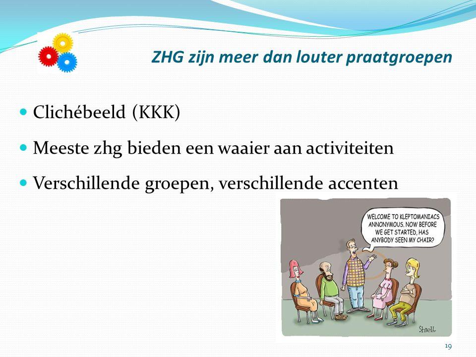 19 ZHG zijn meer dan louter praatgroepen Clichébeeld (KKK) Meeste zhg bieden een waaier aan activiteiten Verschillende groepen, verschillende accenten