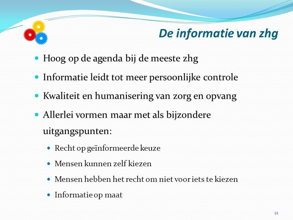 De informatie van zhg Hoog op de agenda bij de meeste zhg Informatie leidt tot meer persoonlijke controle Kwaliteit en humanisering van zorg en opvang