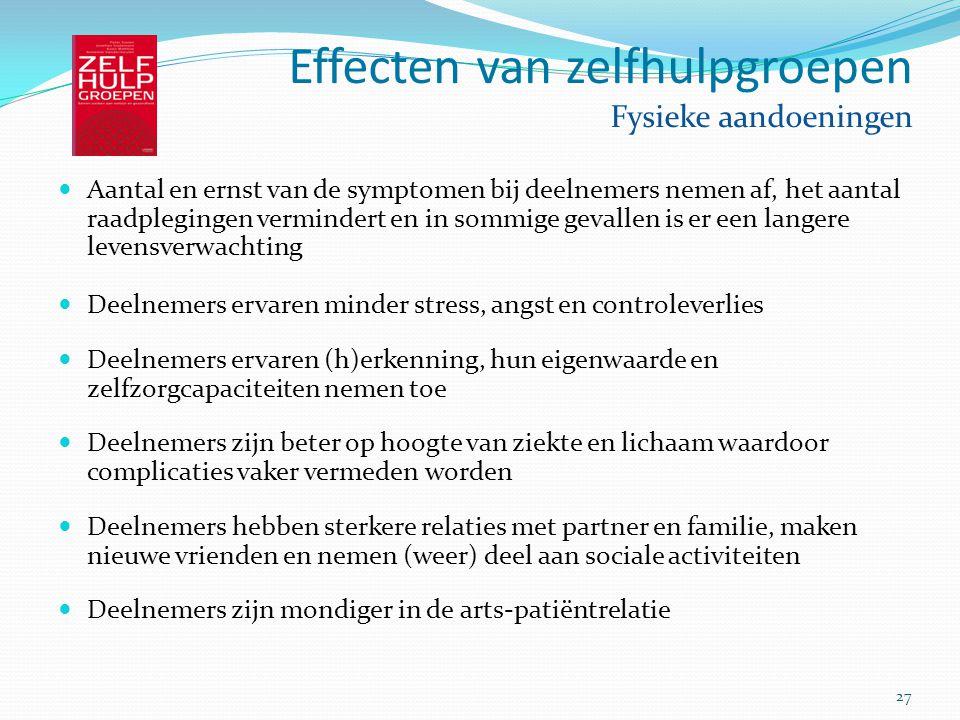27 Effecten van zelfhulpgroepen Fysieke aandoeningen Aantal en ernst van de symptomen bij deelnemers nemen af, het aantal raadplegingen vermindert en