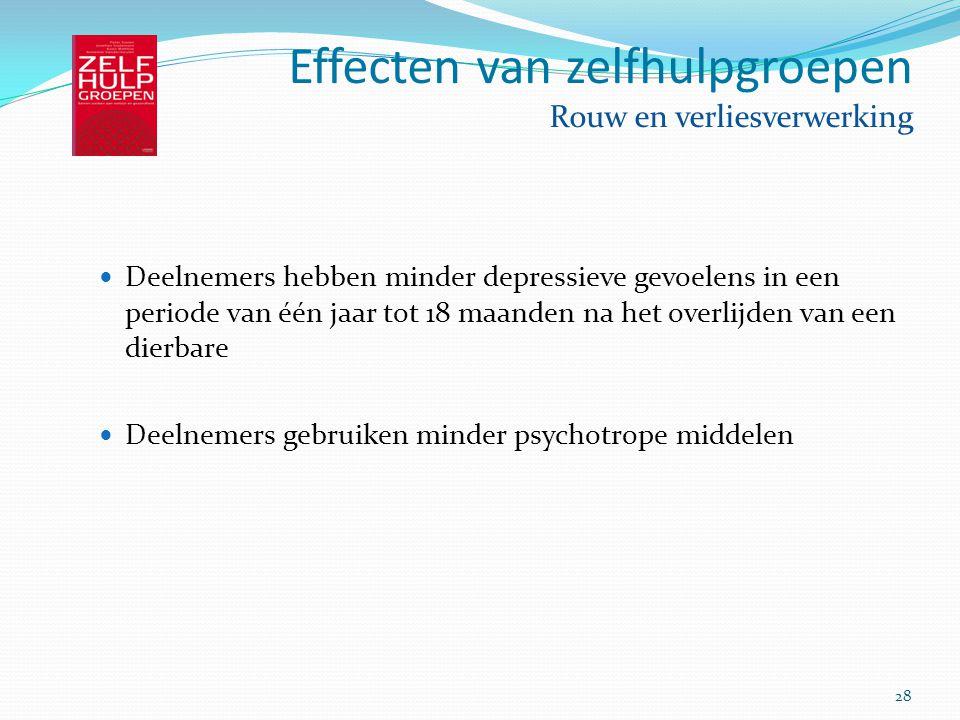 28 Effecten van zelfhulpgroepen Rouw en verliesverwerking Deelnemers hebben minder depressieve gevoelens in een periode van één jaar tot 18 maanden na