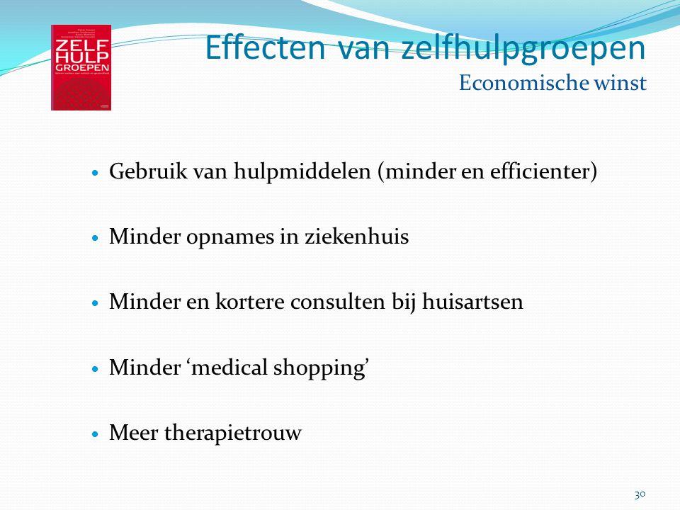 30 Effecten van zelfhulpgroepen Economische winst Gebruik van hulpmiddelen (minder en efficienter) Minder opnames in ziekenhuis Minder en kortere cons