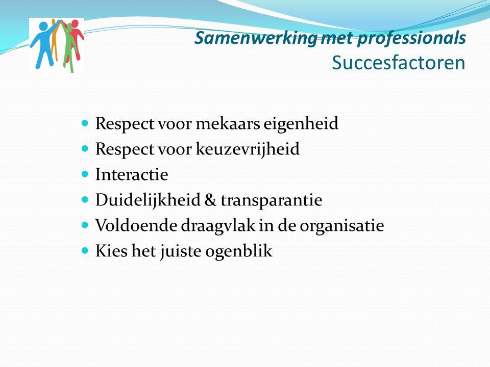 Samenwerking met professionals Succesfactoren Respect voor mekaars eigenheid Respect voor keuzevrijheid Interactie Duidelijkheid & transparantie Voldo