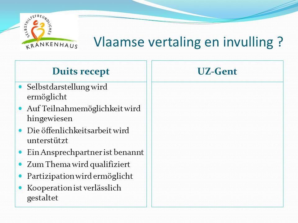 Vlaamse vertaling en invulling ? Duits recept UZ-Gent Selbstdarstellung wird ermöglicht Auf Teilnahmemöglichkeit wird hingewiesen Die öffenlichkeitsar