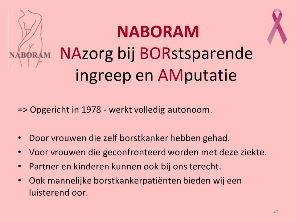 42 NABORAM NAzorg bij BORstsparende ingreep en AMputatie => Opgericht in 1978 - werkt volledig autonoom. Door vrouwen die zelf borstkanker hebben geha