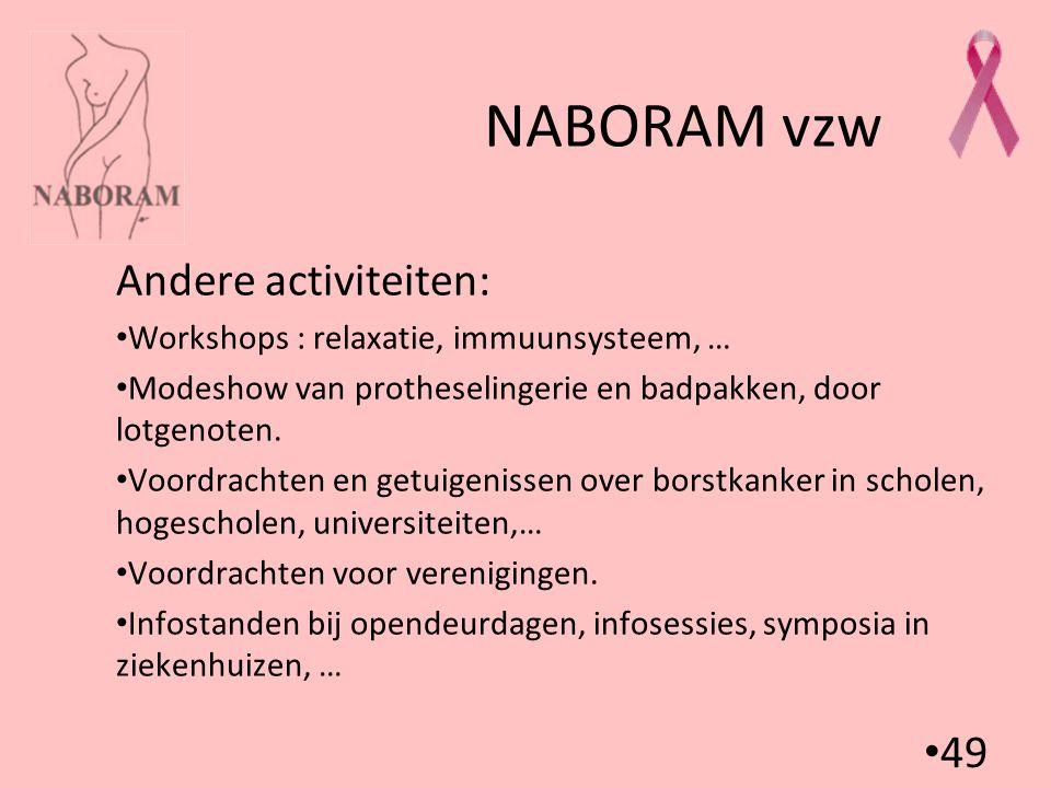 49 NABORAM vzw Andere activiteiten: Workshops : relaxatie, immuunsysteem, … Modeshow van protheselingerie en badpakken, door lotgenoten. Voordrachten