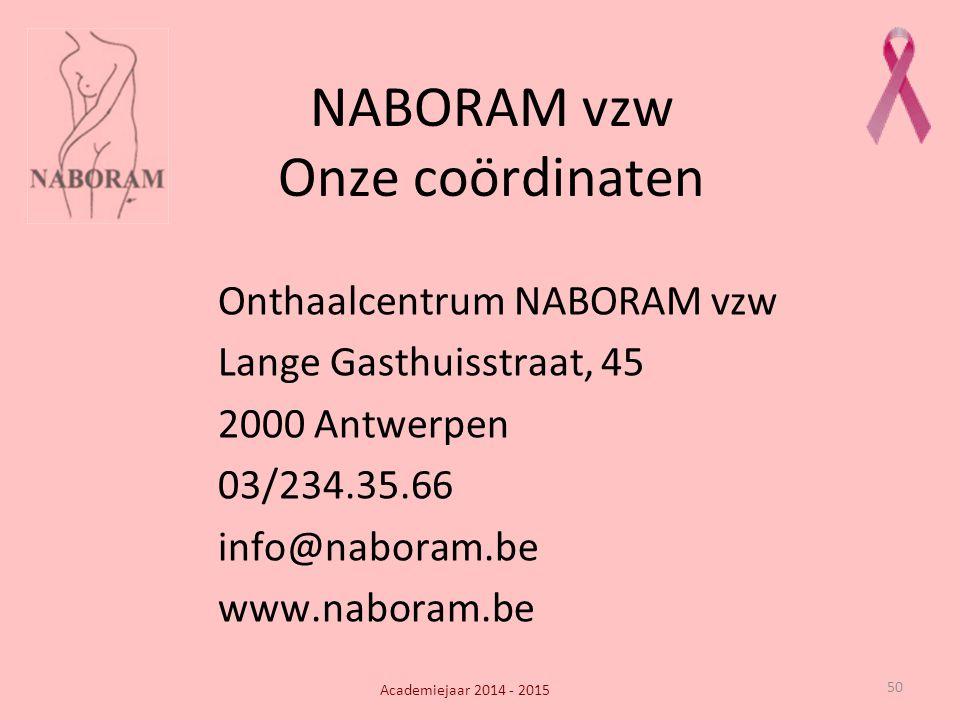 50 NABORAM vzw Onze coördinaten Onthaalcentrum NABORAM vzw Lange Gasthuisstraat, 45 2000 Antwerpen 03/234.35.66 info@naboram.be www.naboram.be Academi