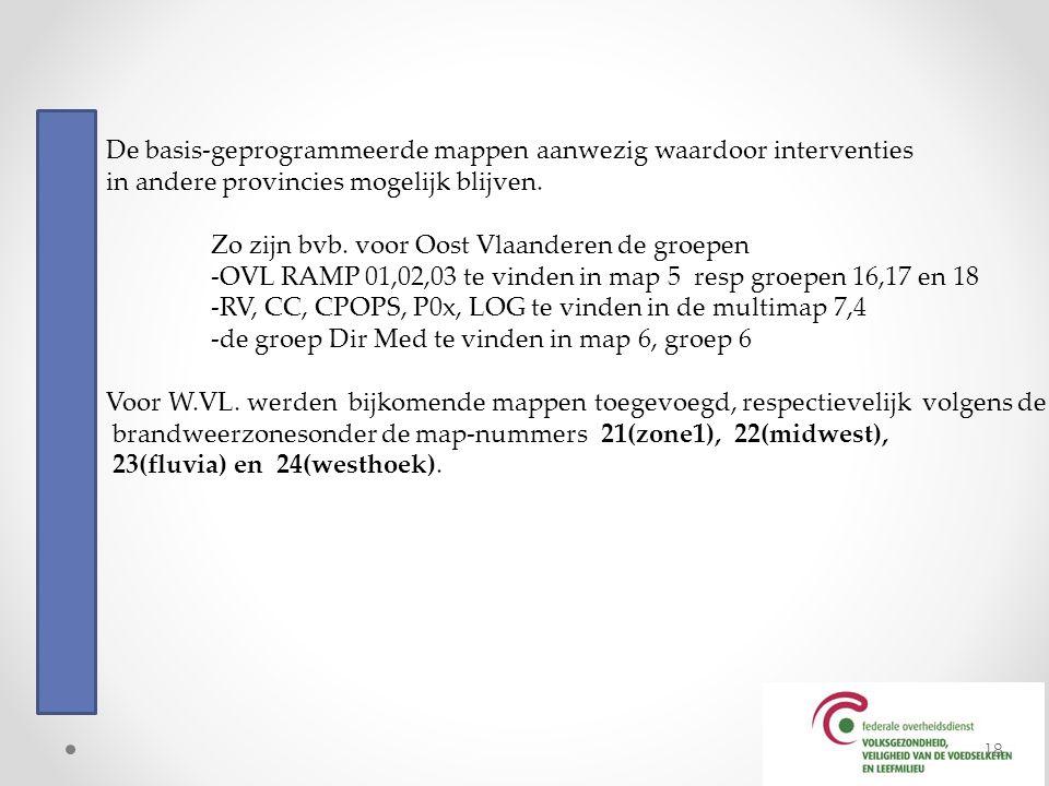 De basis-geprogrammeerde mappen aanwezig waardoor interventies in andere provincies mogelijk blijven. Zo zijn bvb. voor Oost Vlaanderen de groepen -OV