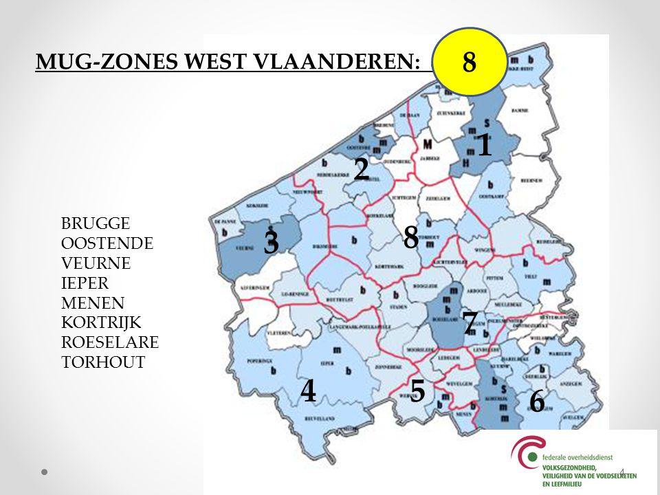 BRANDWEERZONES WEST VLAANDEREN: 4 4 Zone 1 Zone midwest Zone fluvia Zone westhoek 5
