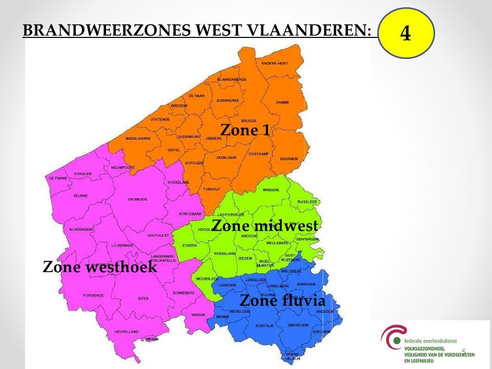 West Vlaanderen wordt voor de multidisciplinaire hulpverlening ingedeeld in vier zones overeenkomstig de brandweerzones: resp.