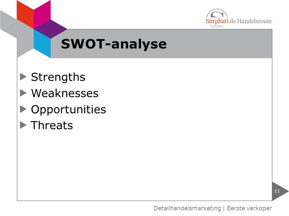 Strengths Weaknesses Opportunities Threats 11 Detailhandelsmarketing | Eerste verkoper SWOT-analyse