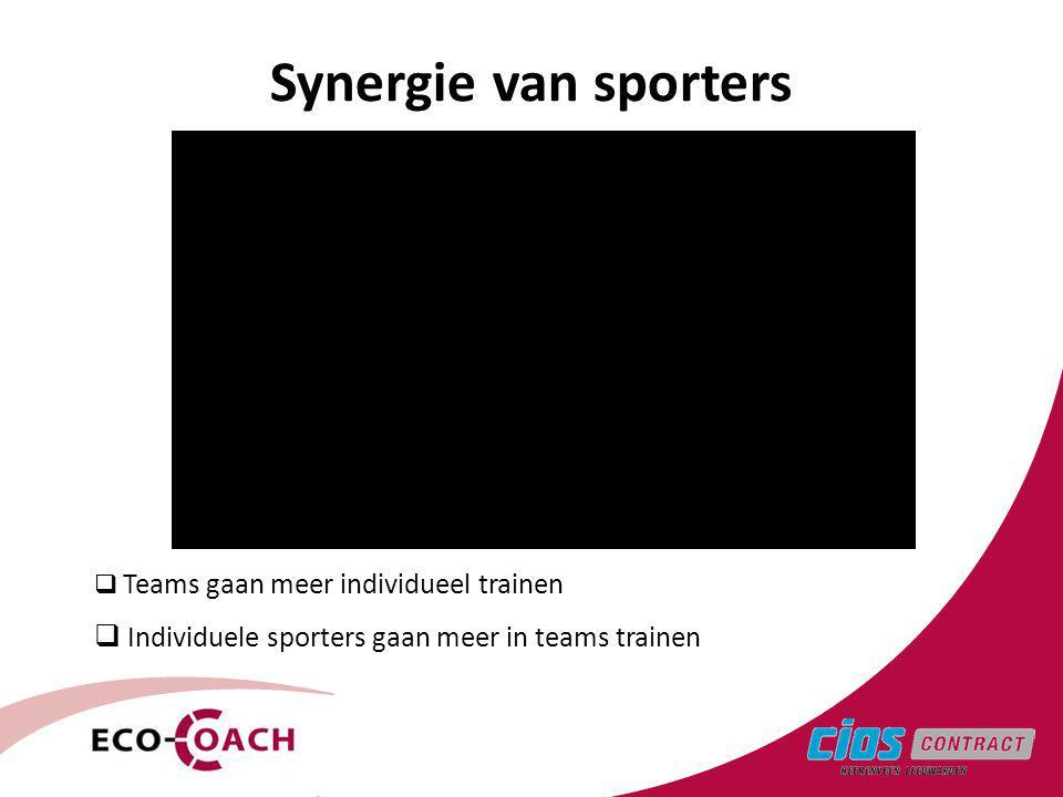  Teams gaan meer individueel trainen  Individuele sporters gaan meer in teams trainen Synergie van sporters