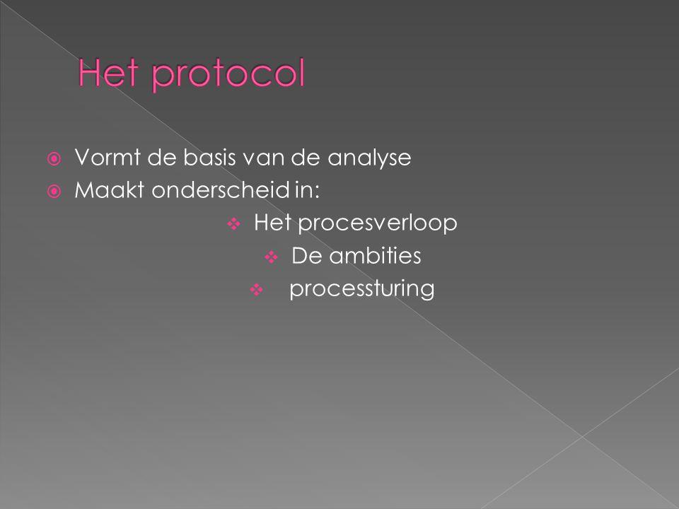  Vormt de basis van de analyse  Maakt onderscheid in:  Het procesverloop  De ambities  processturing