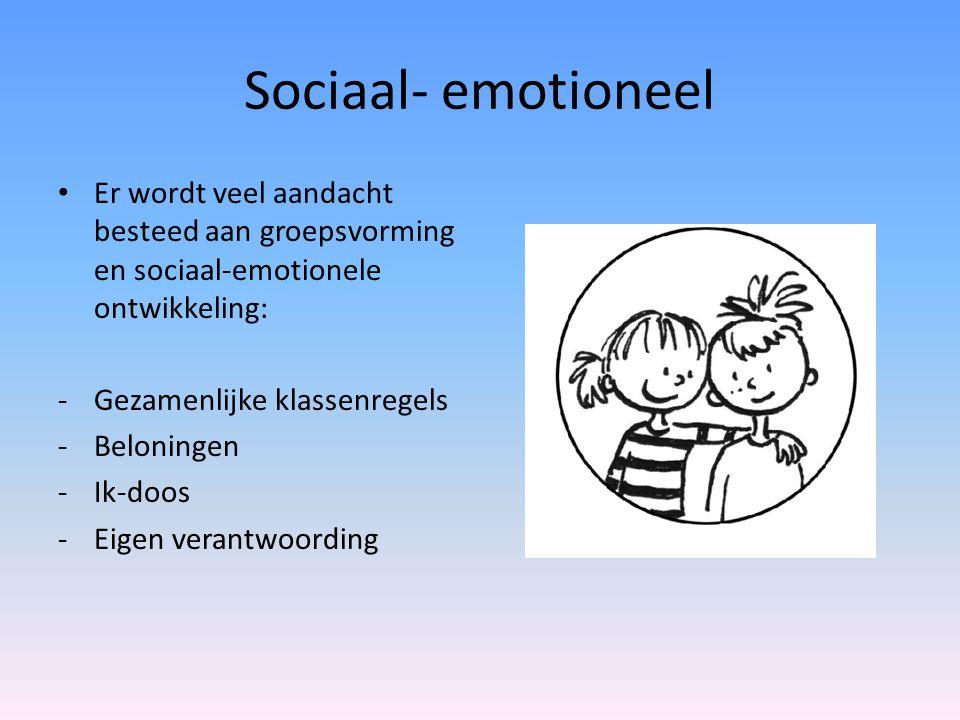 Sociaal- emotioneel Er wordt veel aandacht besteed aan groepsvorming en sociaal-emotionele ontwikkeling: -Gezamenlijke klassenregels -Beloningen -Ik-d