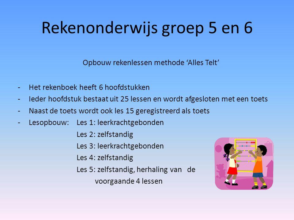 Rekenonderwijs groep 5 en 6 Opbouw rekenlessen methode 'Alles Telt' -Het rekenboek heeft 6 hoofdstukken -Ieder hoofdstuk bestaat uit 25 lessen en word