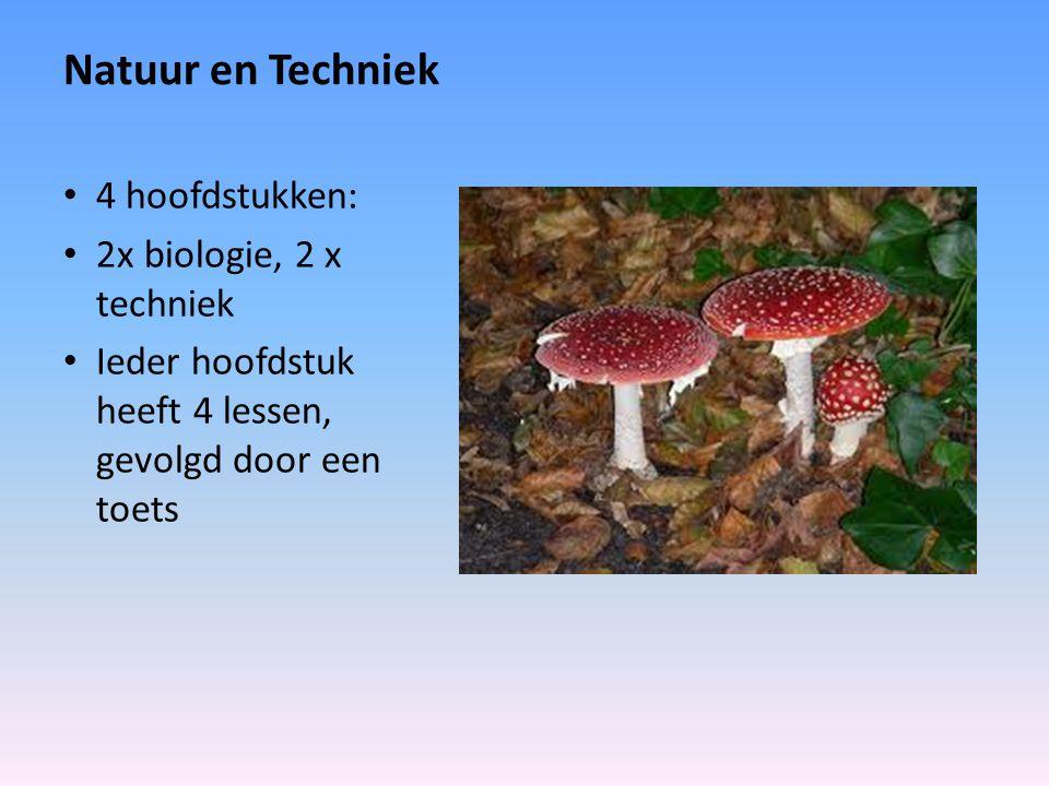 Natuur en Techniek 4 hoofdstukken: 2x biologie, 2 x techniek Ieder hoofdstuk heeft 4 lessen, gevolgd door een toets