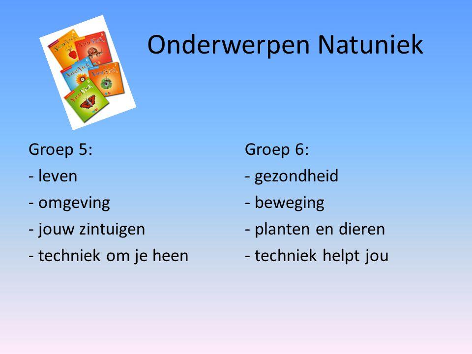 Onderwerpen Natuniek Groep 5: - leven - omgeving - jouw zintuigen - techniek om je heen Groep 6: - gezondheid - beweging - planten en dieren - technie