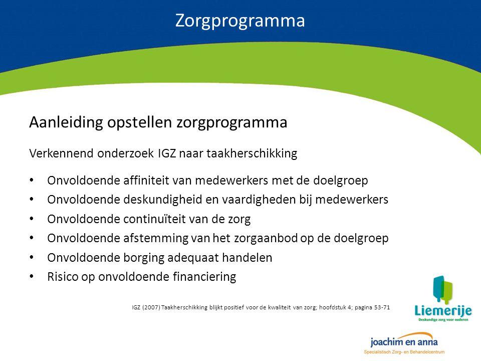 Zorgprogramma Aanleiding opstellen zorgprogramma Verkennend onderzoek IGZ naar taakherschikking Onvoldoende affiniteit van medewerkers met de doelgroe