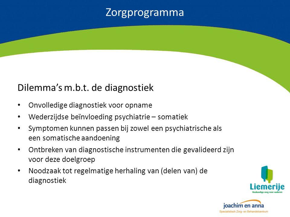 Zorgprogramma Dilemma's m.b.t. de diagnostiek Onvolledige diagnostiek voor opname Wederzijdse beïnvloeding psychiatrie – somatiek Symptomen kunnen pas