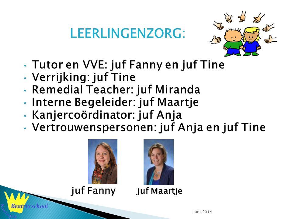Tutor en VVE: juf Fanny en juf Tine Verrijking: juf Tine Remedial Teacher: juf Miranda Interne Begeleider: juf Maartje Kanjercoördinator: juf Anja Vertrouwenspersonen: juf Anja en juf Tine juf Fanny juf Maartje juni 2014 LEERLINGENZORG: