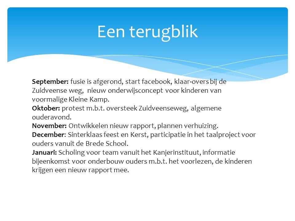 Een terugblik September: fusie is afgerond, start facebook, klaar-overs bij de Zuidveense weg, nieuw onderwijsconcept voor kinderen van voormalige Kleine Kamp.
