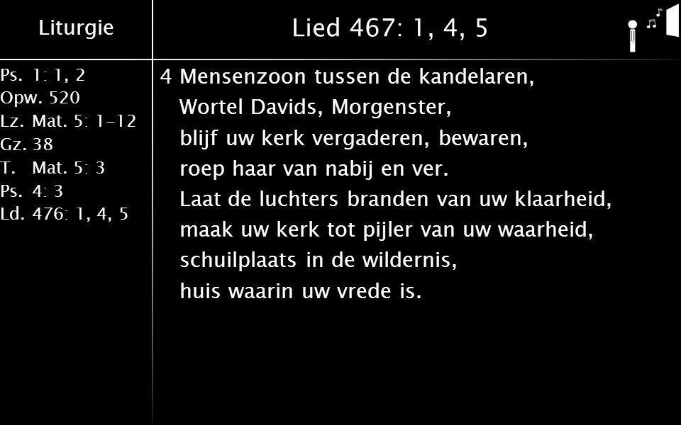 Liturgie Ps.1: 1, 2 Opw.520 Lz.Mat. 5: 1-12 Gz.38 T.Mat. 5: 3 Ps.4: 3 Ld.476: 1, 4, 5 Lied 467: 1, 4, 5 4Mensenzoon tussen de kandelaren, Wortel David