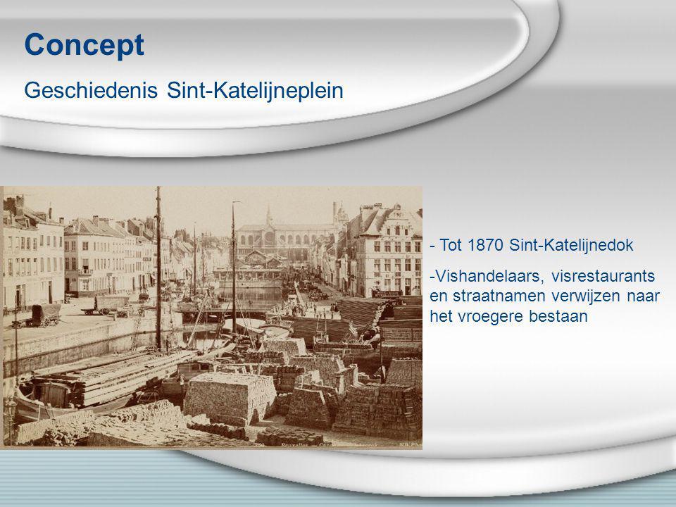 Concept Geschiedenis Sint-Katelijneplein - Tot 1870 Sint-Katelijnedok -Vishandelaars, visrestaurants en straatnamen verwijzen naar het vroegere bestaa