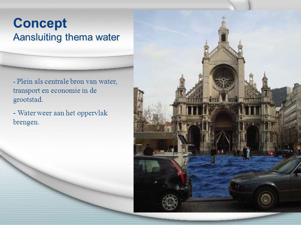 Concept Aansluiting thema water - Plein als centrale bron van water, transport en economie in de grootstad. - Water weer aan het oppervlak brengen.