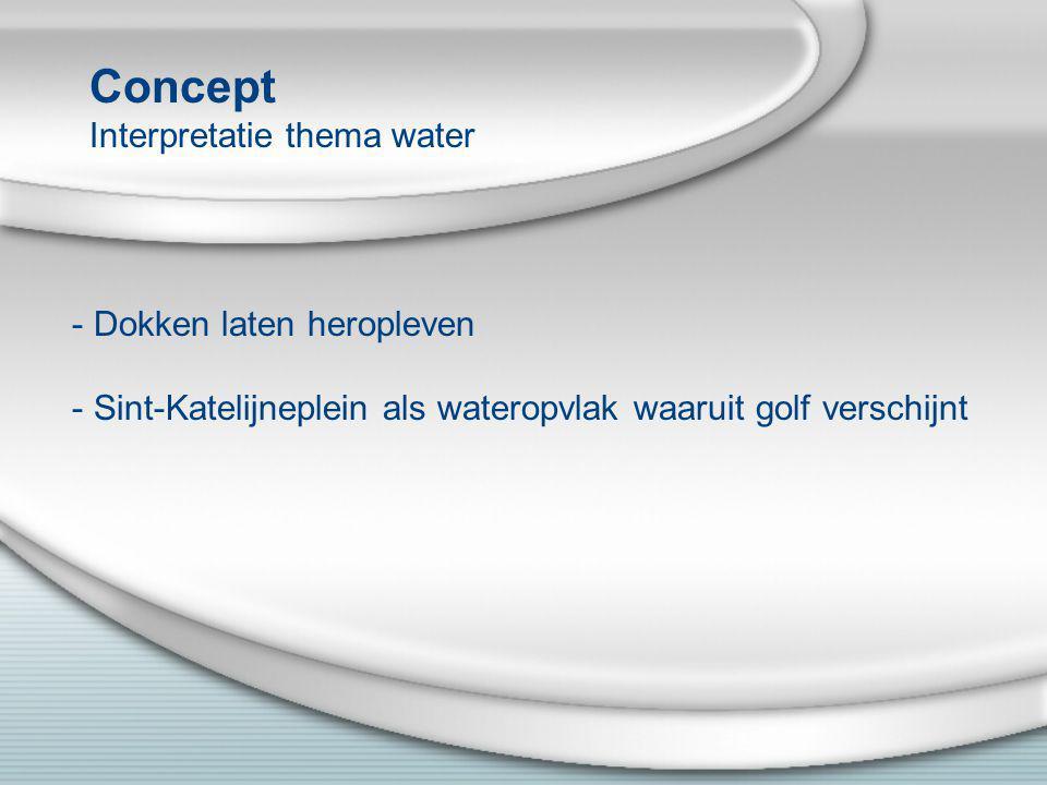 Concept Interpretatie thema water - Dokken laten heropleven - Sint-Katelijneplein als wateropvlak waaruit golf verschijnt