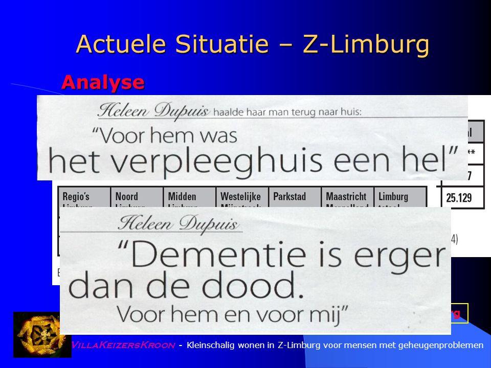 VillaKeizersKroon - Kleinschalig wonen in Z-Limburg voor mensen met geheugenproblemen Idee, Doelgroep, Zorgland Elke 7 seconden komt er een dementie-patiënt bij Alzheimer-Stichting, 2006