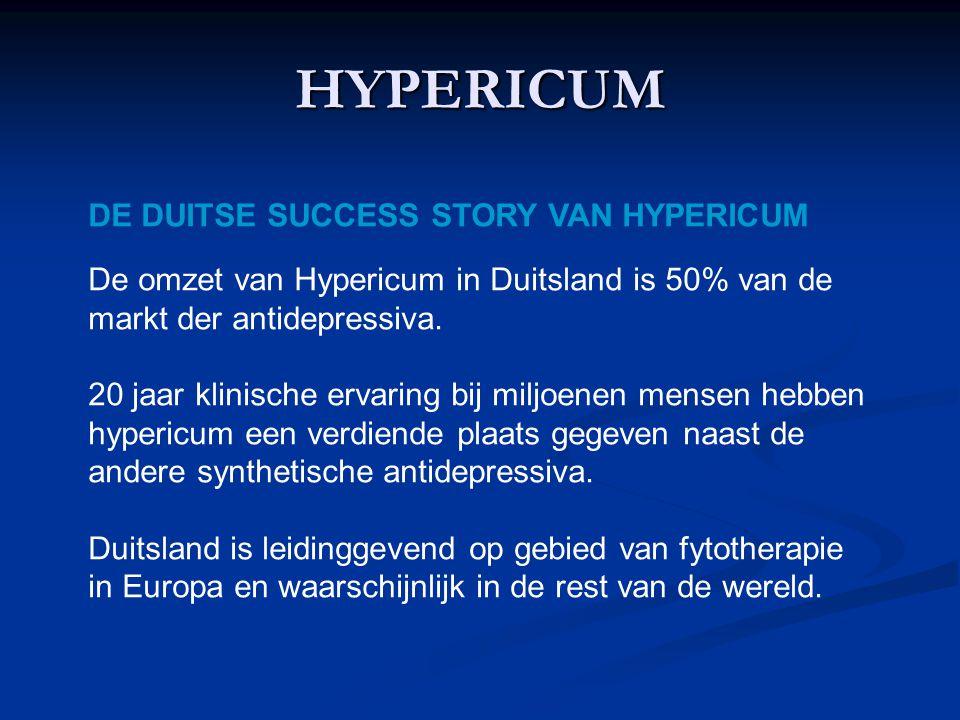 HYPERICUM DE DUITSE SUCCESS STORY VAN HYPERICUM De omzet van Hypericum in Duitsland is 50% van de markt der antidepressiva.