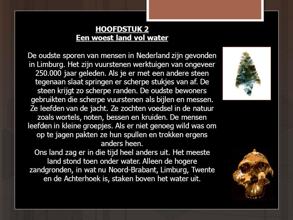 HOOFDSTUK 2 Een woest land vol water De oudste sporen van mensen in Nederland zijn gevonden in Limburg.