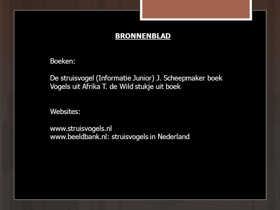 BRONNENBLAD Boeken: De struisvogel (Informatie Junior) J.
