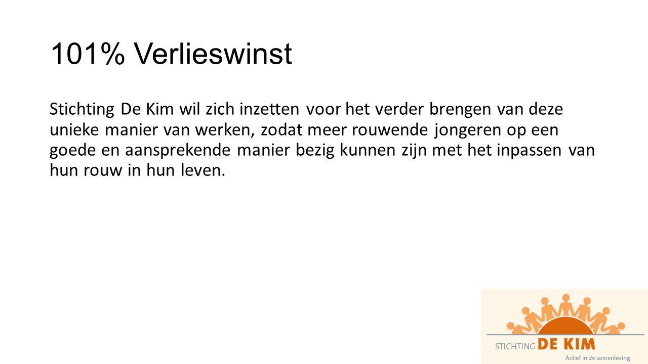 101% Verlieswinst Stichting De Kim wil zich inzetten voor het verder brengen van deze unieke manier van werken, zodat meer rouwende jongeren op een goede en aansprekende manier bezig kunnen zijn met het inpassen van hun rouw in hun leven.