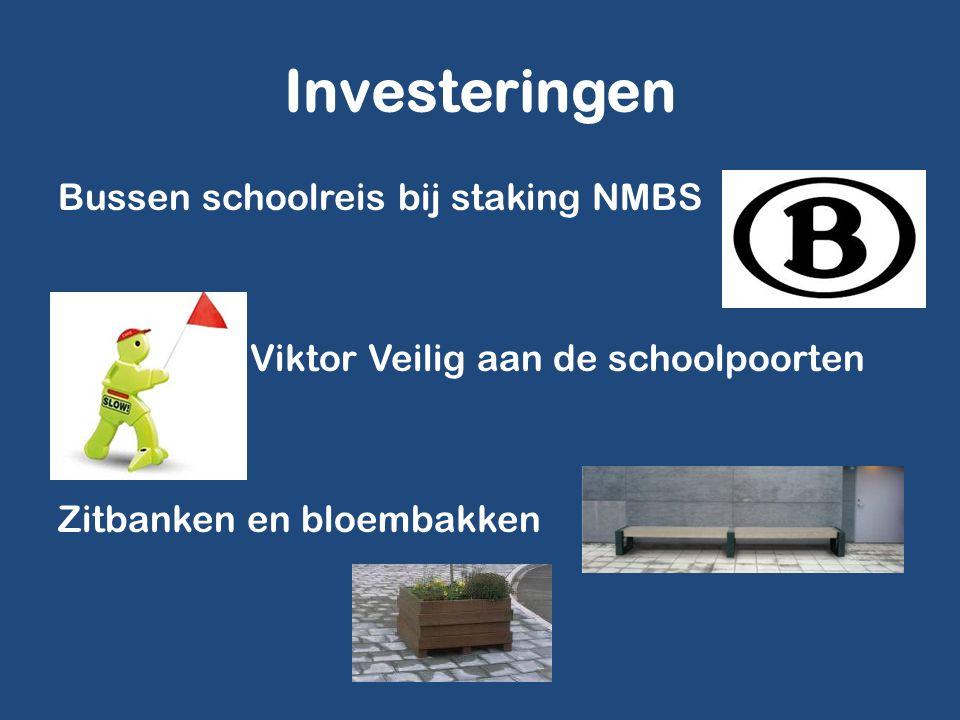Investeringen Bussen schoolreis bij staking NMBS Viktor Veilig aan de schoolpoorten Zitbanken en bloembakken
