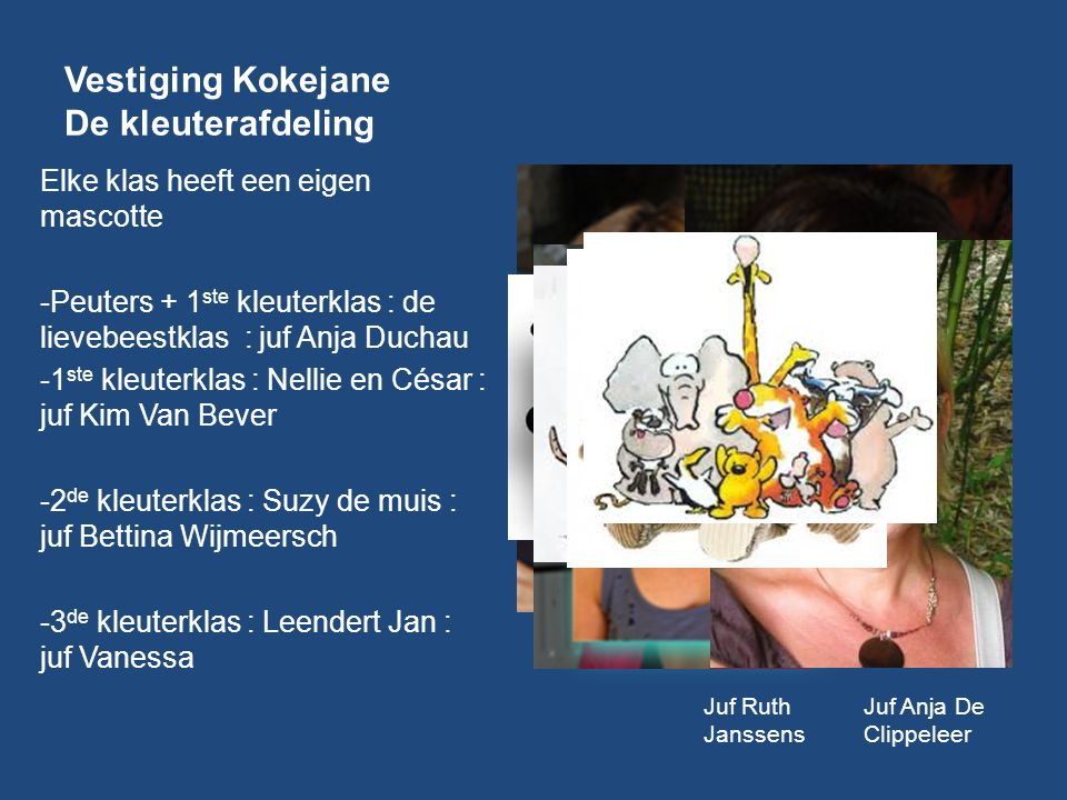 Vestiging Kokejane De kleuterafdeling Elke klas heeft een eigen mascotte -Peuters + 1 ste kleuterklas : de lievebeestklas : juf Anja Duchau -1 ste kle