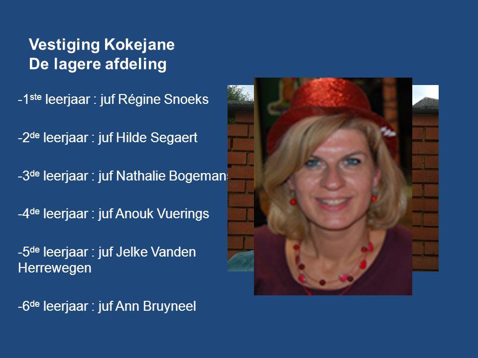 Vestiging Kokejane De lagere afdeling -1 ste leerjaar : juf Régine Snoeks -2 de leerjaar : juf Hilde Segaert -3 de leerjaar : juf Nathalie Bogemans -4