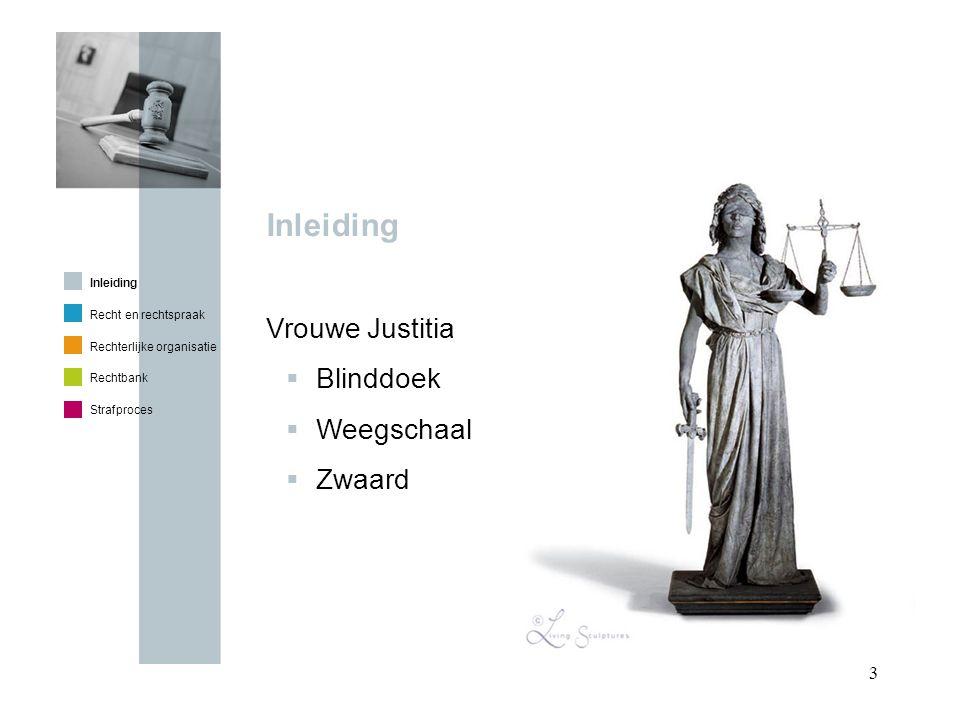 14 In de zittingszaal – Verloop strafzitting Officier Rechter Voorzitter Rechter Rechter Griffier Advocaat Verdachte Inleiding Recht en rechtspraak Rechterlijke organisatie Rechtbank Strafproces 1.